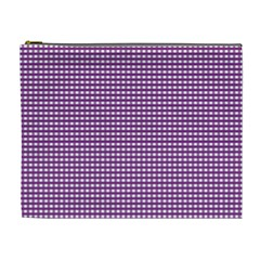 Grid In Purple Cosmetic Bag (xl) by TimelessFashion