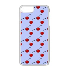 Kawaii Cherries Blue Pattern Iphone 8 Plus Seamless Case (white)