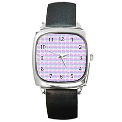 Umbrella Mandala Pattern Square Metal Watch