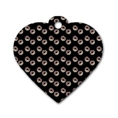 Kawaii Dougnut Black Pattern Dog Tag Heart (one Side)