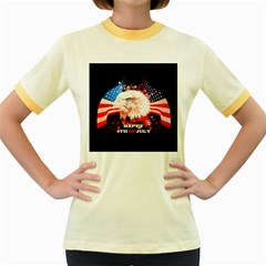 Happy 4th Of July Women s Fitted Ringer T-shirt by FantasyWorld7