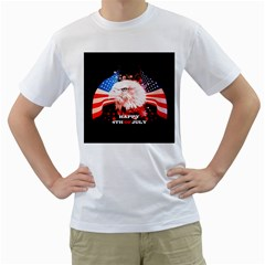 Happy 4th Of July Men s T-shirt (white) (two Sided) by FantasyWorld7