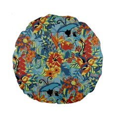 Flowers And Butterflies Pattern Standard 15  Premium Round Cushions by goljakoff