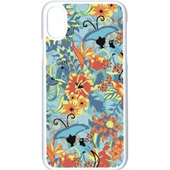Flowers And Butterflies Pattern Iphone X Seamless Case (white)