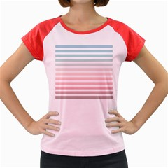 Horizontal Pinstripes In Soft Colors Women s Cap Sleeve T-shirt by shawlin