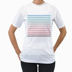 Horizontal Pinstripes In Soft Colors Women s T-shirt (white) (two Sided) by shawlin
