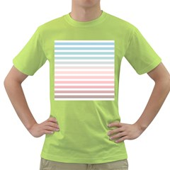Horizontal Pinstripes In Soft Colors Green T-shirt by shawlin