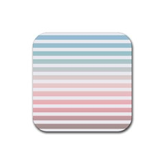 Horizontal Pinstripes In Soft Colors Rubber Coaster (square)  by shawlin