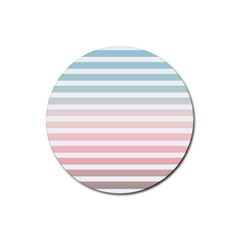 Horizontal Pinstripes In Soft Colors Rubber Coaster (round)  by shawlin