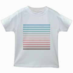 Horizontal Pinstripes In Soft Colors Kids White T Shirts by shawlin