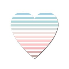 Horizontal Pinstripes In Soft Colors Heart Magnet by shawlin