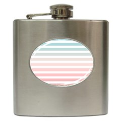 Horizontal Pinstripes In Soft Colors Hip Flask (6 Oz) by shawlin