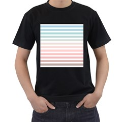 Horizontal Pinstripes In Soft Colors Men s T-shirt (black) (two Sided) by shawlin