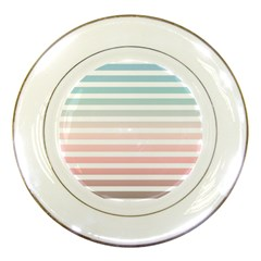 Horizontal Pinstripes In Soft Colors Porcelain Plates by shawlin