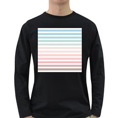 Horizontal Pinstripes In Soft Colors Long Sleeve Dark T-shirt by shawlin