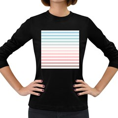 Horizontal Pinstripes In Soft Colors Women s Long Sleeve Dark T-shirt by shawlin
