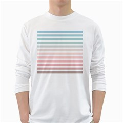 Horizontal Pinstripes In Soft Colors Long Sleeve T-shirt by shawlin