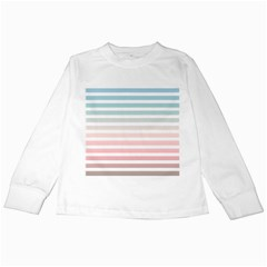 Horizontal Pinstripes In Soft Colors Kids Long Sleeve T Shirts by shawlin