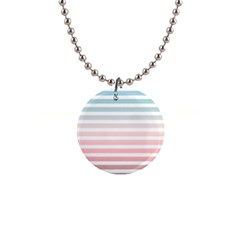 Horizontal Pinstripes In Soft Colors 1  Button Necklace by shawlin