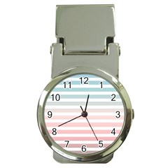 Horizontal Pinstripes In Soft Colors Money Clip Watches