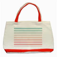 Horizontal Pinstripes In Soft Colors Classic Tote Bag (red) by shawlin