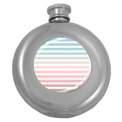 Horizontal Pinstripes In Soft Colors Round Hip Flask (5 Oz) by shawlin