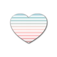 Horizontal Pinstripes In Soft Colors Rubber Coaster (heart)  by shawlin