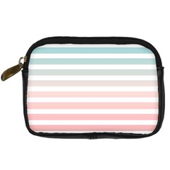 Horizontal Pinstripes In Soft Colors Digital Camera Leather Case by shawlin