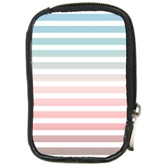 Horizontal Pinstripes In Soft Colors Compact Camera Leather Case by shawlin