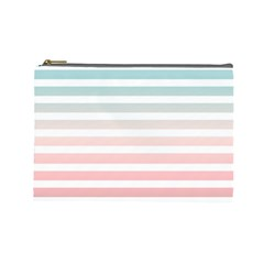 Horizontal Pinstripes In Soft Colors Cosmetic Bag (large) by shawlin