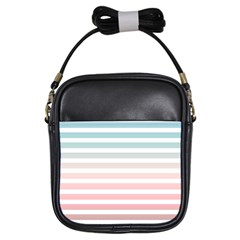 Horizontal Pinstripes In Soft Colors Girls Sling Bag by shawlin