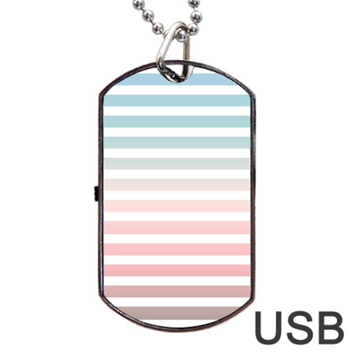 Horizontal pinstripes in soft colors Dog Tag USB Flash (Two Sides)