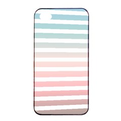 Horizontal Pinstripes In Soft Colors Iphone 4/4s Seamless Case (black) by shawlin