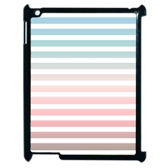 Horizontal Pinstripes In Soft Colors Apple Ipad 2 Case (black) by shawlin