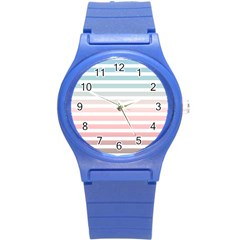 Horizontal Pinstripes In Soft Colors Round Plastic Sport Watch (s) by shawlin