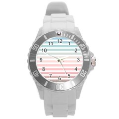 Horizontal Pinstripes In Soft Colors Round Plastic Sport Watch (l) by shawlin