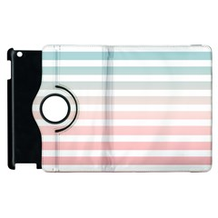 Horizontal Pinstripes In Soft Colors Apple Ipad 3/4 Flip 360 Case by shawlin