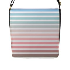 Horizontal Pinstripes In Soft Colors Flap Closure Messenger Bag (l) by shawlin