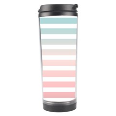 Horizontal Pinstripes In Soft Colors Travel Tumbler by shawlin