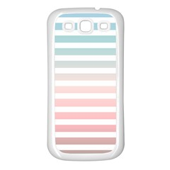 Horizontal Pinstripes In Soft Colors Samsung Galaxy S3 Back Case (white) by shawlin