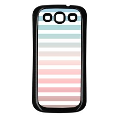 Horizontal Pinstripes In Soft Colors Samsung Galaxy S3 Back Case (black) by shawlin