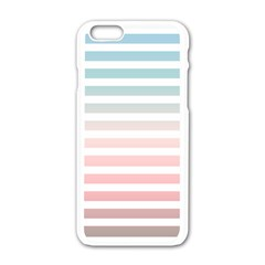 Horizontal Pinstripes In Soft Colors Iphone 6/6s White Enamel Case by shawlin