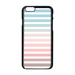Horizontal Pinstripes In Soft Colors Iphone 6/6s Black Enamel Case by shawlin