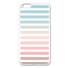 Horizontal Pinstripes In Soft Colors Iphone 6 Plus/6s Plus Enamel White Case by shawlin