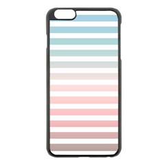 Horizontal Pinstripes In Soft Colors Iphone 6 Plus/6s Plus Black Enamel Case by shawlin