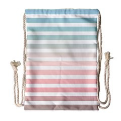 Horizontal Pinstripes In Soft Colors Drawstring Bag (large) by shawlin