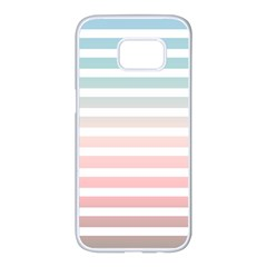Horizontal Pinstripes In Soft Colors Samsung Galaxy S7 Edge White Seamless Case by shawlin