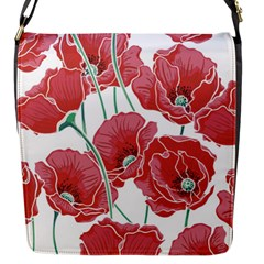 Red Poppy Flowers Pattern Flap Closure Messenger Bag (s) by goljakoff
