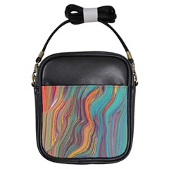 Colorful Sketch Girls Sling Bag by bloomingvinedesign