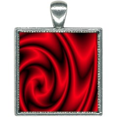 Background Red Color Swirl Square Necklace